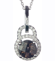 14K WHITE GOLD LOCK STYLE ROUND SMOKEY QUARTZ AND PAVE DIAMOND HALO PENDANT
