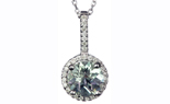 14K WHITE GOLD ROUND GREEN AMETHYST CENTER AND PAVE DIAMOND HALO PENDANT
