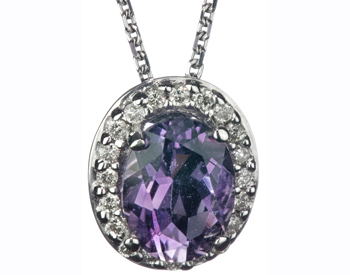 14K WHITE GOLD AMETHYST AND DIAMONS PENDANT
