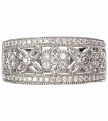 14K WHITE GOLD TAPERED MILLEGRAIN FLOWER DESIGN DIAMOND BAND
