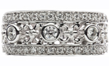 14K WHITE GOLD 3 ROW FILIGREE CENTER  AND PAVE EDGED DIAMOND FASHION BAND