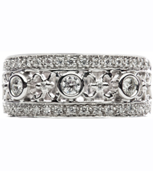14K WHITE GOLD 3 ROW DIAMOND FASHION BAND