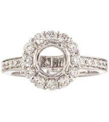 SIMON G: 18K WHITE GOLD SEMI MOUNTING WITH DIAMONDS AND ROUND HEAD