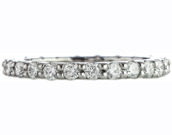 14K WHITE GOLD SHARED PRONG ROUND DIAMOND ETERNITY BAND