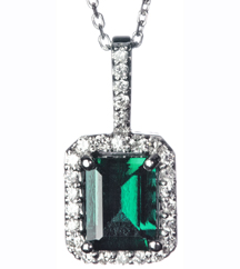 14K WHITE GOLD EMERALD AND DIAMOND