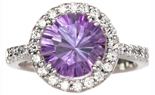 14K WHITE GOLD ROUND AMETHYST AND DIAMOND RING