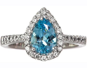 14K WHITE GOLD PEAR SHAPED BLUE TOPAZ AND PAVE DIAMOND RING