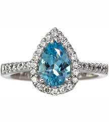 14K WHITE GOLD PEAR SHAPED BLUE TOPAZ AND DIAMOND RING