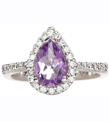 14K WHITE GOLD PEAR SHAPED AMETHYST PAVE DIAMOND RING
