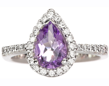 14K WHITE GOLD PEAR SHAPED AMETHYST CENTER AND PAVE DIAMOND RING