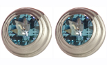 14K WHITE GOLD ROUND SWISS BLUE TOPAZ STUD EARRINGS