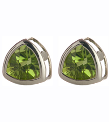14K WHITE GOLD TRILLION PERIDOT STUD EARRINGS