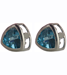 14K WHITE GOLD TRILLION BLUE TOPAZ STUD EARRINGS