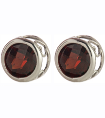 14K WHITE GOLD AND GARNET EARRINGS