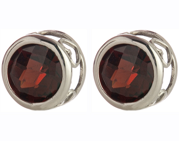 14K WHITE GOLD ROUND GARNET STUD EARRINGS