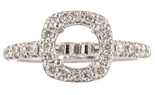 14K WHITE GOLD SEMI MOUNTING WITH ROUND DIAMONDS AND CUSHION TOP