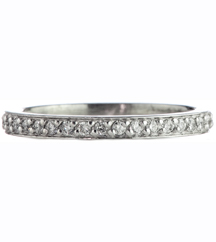 14K WHITE GOLD BEAD SET AND ROUND DIAMOND ETERNITY BAND