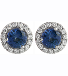 14K WHITE GOLD CHATHAM SAPPHIRE CENTER AND PAVE DIAMOND HALO STUD EARRINGS