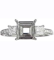 14K WHITE GOLD 3-STONE SEMI-MOUNTING RING