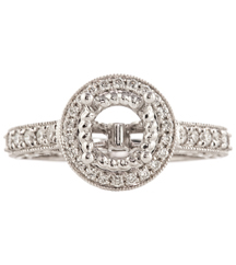 14K WHITE GOLD ROUND SEMI MOUNTING WITH ROUND DIAMONDS