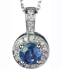 14K WHITE GOLD ROUND BLUE SAPPHIRE AND PAVE DIAMOND HALO PENDANT