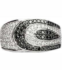 14K WHITE GOLD BLACK AND WHITE DIAMOND BAND