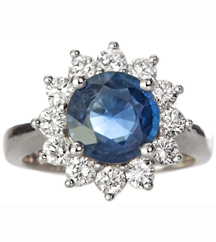 14K WHITE GOLD ROUND SAPPHIRE AND ROUND DIAMOND HALO RING