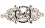 18K WHITE GOLD ROUND TOP PAVE AND PRONG SET DIAMOND SEMI MOUNTING