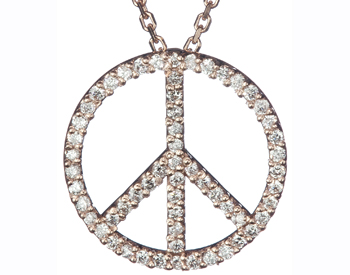14K ROSE GOLD PAVE DIAMOND PEACE SIGN PENDANT