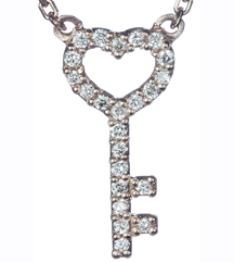 14K ROSE GOLD PAVE DIAMOND HEART/KEY PENDANT