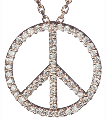 14K ROSE GOLD PAVE PEACE SIGN PENDANT