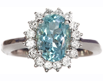 14K WHITE GOLD OVAL AQUA CENTER AND DIAMOND HALO RING