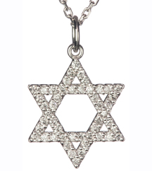 14K PAVE DIAMOND STAR OF DAVID PENDANT
