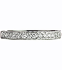 WHITE GOLD MILGRAIN 3-SIDED BAND