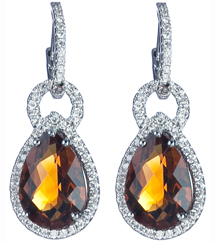 14K WHITE GOLD DIAMOND AND CITRINE EARRINGS