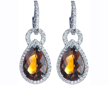 14K WHITE GOLD PEAR SHAPED CITRINE AND PAVE DIAMOND DROP EARRINGS