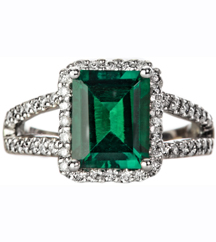 14K WHITE GOLD CUSHION EMERALD AND DIAMOND HALO RING