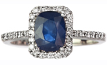 14K WHITE GOLD PAVE DIAMOND AND CUSHION SAPPHIRE RING