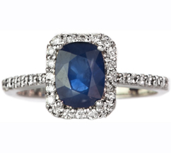 14K WHITE GOLD DIAMOND AND SAPPHIRE RING