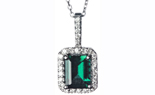 14K WHITE GOLD EMERALD CENTER AND PAVE DIAMOND CUSHION HALO PENDANT
