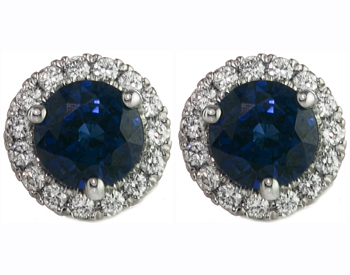 14K WHITE GOLD SAPPHIRE CENTER AND DIAMOND HALO STUD EARRINGS