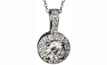 14K WHITE GOLD DIAMOND AND PAVE DIAMOND PENDANT