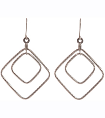 14K WHITE GOLD DIAMOND CUT DROP EARRINGS