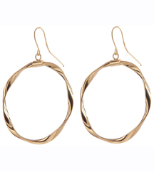14K YELLOW GOLD TWISTED CIRCLE DROP EARRINGS