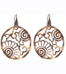 YELLOW GOLD PLATED AND STERLING SILVER EARRINGS