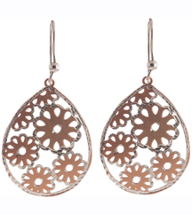 ROSE GOLD AND STERLING SILVER PEAR SHAPED EARRINGS