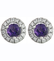 14K WHITE GOLD AMETHYST CENTER AND DIAMOND HALO STUD EARRINGS