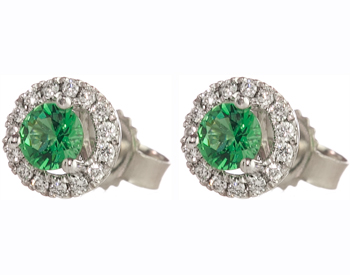 14K WHITE GOLD EMERALD CENTER AND PAVE DIAMOND HALO STUD EARRINGS