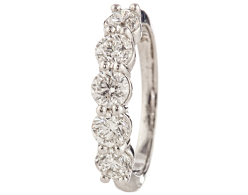 14K WHITE GOLD ROUND DIAMOND SHARED PRONG BAND