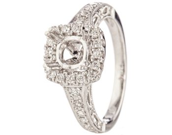 18K WHITE GOLD SQUARE TOP DIAMOND AND FILIGREE SEMI MOUNTING